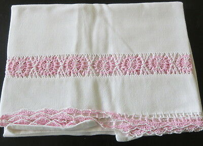 Vintage Pillowcase ONE White with Pink Crocheted Inserts and Edging