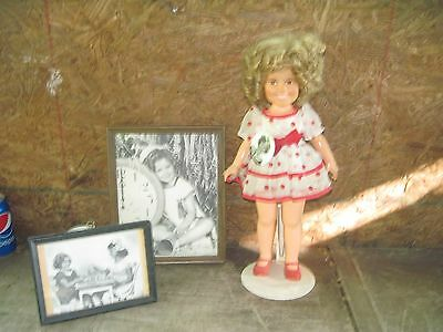 """Shirley Temple 16"""" Plastic Doll..1972/73 Ideal Toys + 2"""" Button Pin +2 Pictures"""