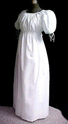 WHITE Regency Gown Empire Jane Austen   WOMEN SMALL TO PLUS SZ, Cotton Blend