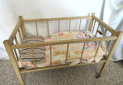 Old Antique Wood Baby Doll Crib Bed White Paint W Straw Mattress