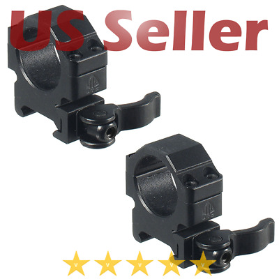 """Leapers 1"""" Inch 2PCs Low Profile Picatinny Quick Detach Scope Ring 18mm Wide"""