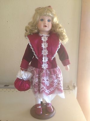 Porcelain Doll, Curly Blonde Hair / Blue Eyes, Red Victorian Outfit W/ Stand