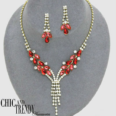 Clearance Red Clear Crystal Prom Formal Wedding Necklace Jewelry Set Chic