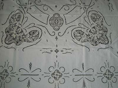 "Antique Linen Italian Point De Venise Needle Lace Tablecloth 68"" X 88"""