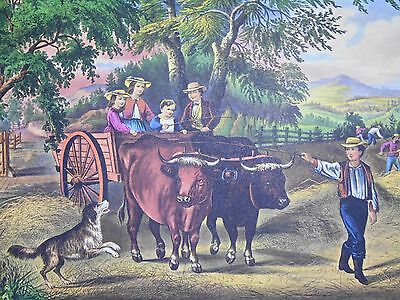 Vintage Currier & Ives' America Print Haying Time The First Load Cows Farm