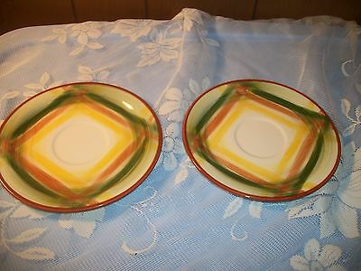 Lot of 2 Vintage Vernonware Homespun Saucers 1950's Brown Green