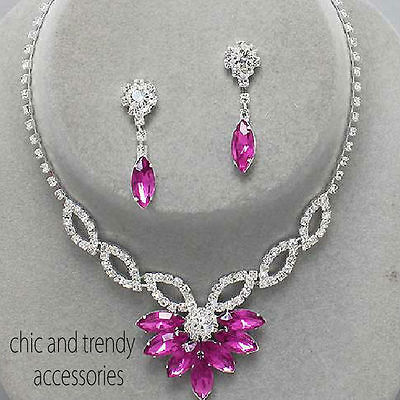 Clearance Pink Clear Crystal Prom Wedding Formal Necklace Jewelry Set Trendy