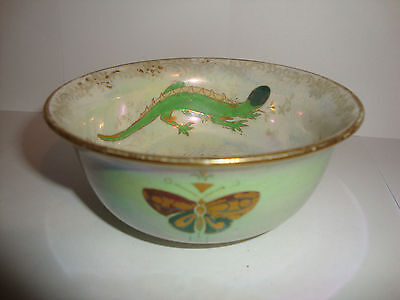 Crown Devon Fieldings Lustre China Salamander Lizard Butterfly and Insect Bowl