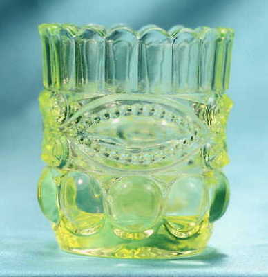 Bright Canary Yellow Vaseline Glass Candle Toothpick Holder Eyewinker Mosser WOW