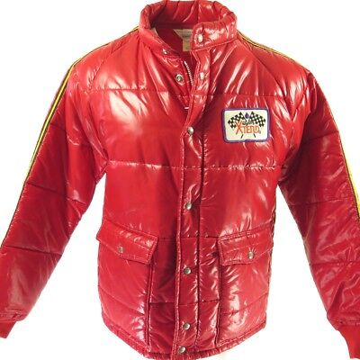 Vintage 70s Wynns Racing Jacket Mens L Deadstock Red Wet Look USA Made Quilted