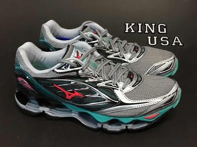 Women's Mizuno Wave Prophecy 6 Running Athletic Shoes Silver Turquoise Diva Pink