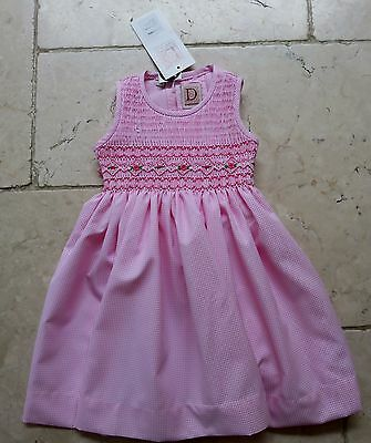 Hand Smocked Pink White Gingham Check Dress D'Embroidery girls 18 months NWT