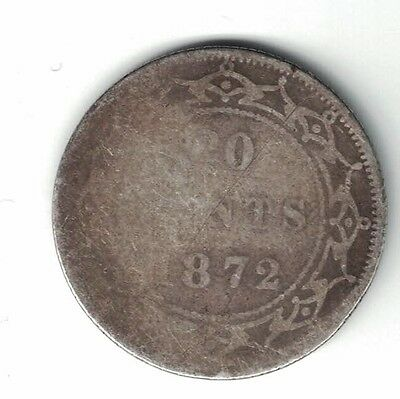 Newfoundland 1872H Twenty Cents Queen Victoria Sterling Silver Coin