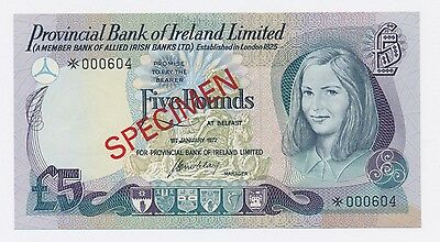 1977 Provincial Bank Of Ireland Limited 5 Pound Uncirculated Note Specimen