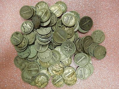 100 mixed 90% silver dimes, Mercury and Roosevelt (pink)