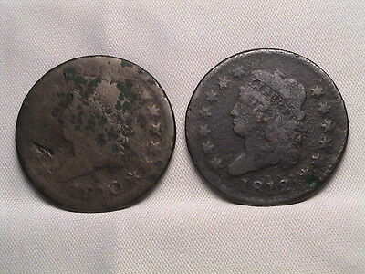 1810 & 1812 Pair of Classic Head Large Cents!