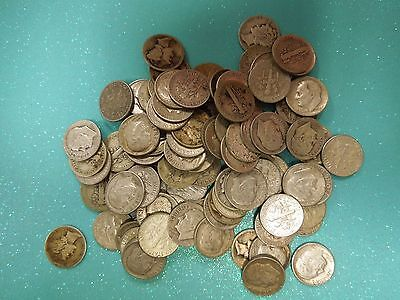 100 mixed 90% silver dimes, Mercury and Roosevelt (blue)