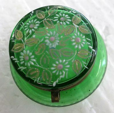 Antique Enamel Decorated Green Glass  Hinged Patch Box Circa 1800's