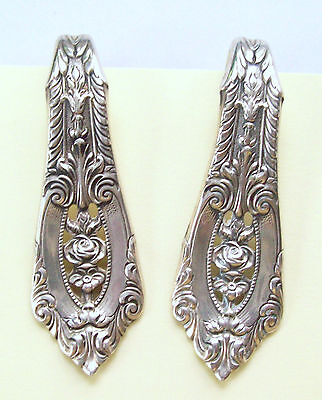 Vintage Sterling (2) Wallace Ornate Rose Point Napkin Clips Rings