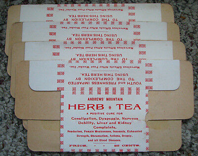 4 old 1890's ANDREWS MOUNTAIN HERB TEA CURE empty medicine boxes BRILLION, WI