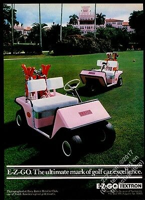 1980 E-Z-Go pink golf cart photo at Boca Raton Hotel and club vintage print ad