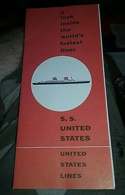 SS UNITED STATES LINES FOLD OUT BROCHURE 1950s