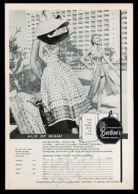 1957 Burdine's fashion store Florida Alix of Miami women's swimsuit dress ad