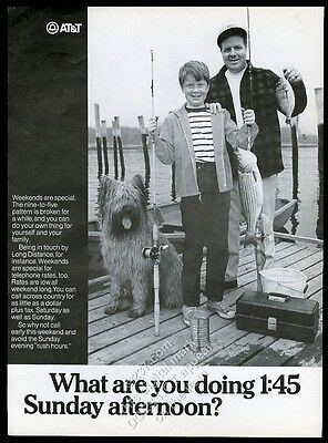 1969 Briard dog father son fishing photo AT&T Bell Telephone vintage print ad