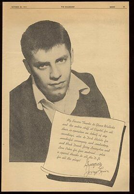 1951 Jerry Lewis photo Capitol Records trade print ad