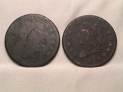 1812 & 1813  Pair of Classic Head Large Cents!