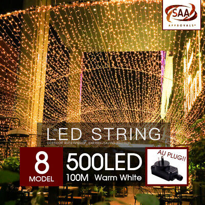 500 LED 100m Warm White String Fairy Lights Christmas Tree Xmas Party Wedding