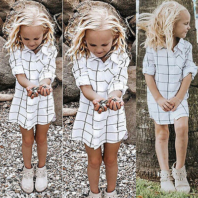 UK Stock Toddler Infant Kids Baby Girls Outfit Clothes Plaid T-shirt Dress Skirt
