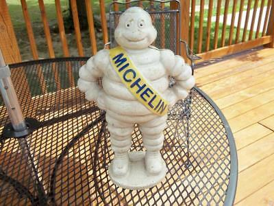 """Huge Cast Iron Michelin Man Tire Statue Figurine Display! 13 Pounds! 15"""" Tall"""