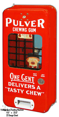 Vintage Gum Vending Machine Reproduction Cut Out Metal Sign 11.5x23.5