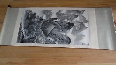 Vintage Large Chinese Hand Painted On Silk Scroll Landscaping Scene