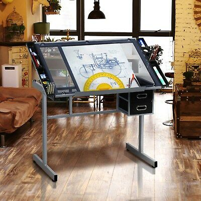 Home Hobby Craft Table With Storage Drafting Draftsman Crafting Art Drawing Desk