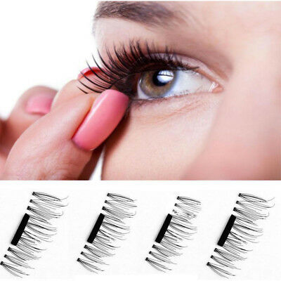 3D Magnetic False Eyelashes Natural Eye Lashes Extension Handmade 4 Pcs/1 Pair