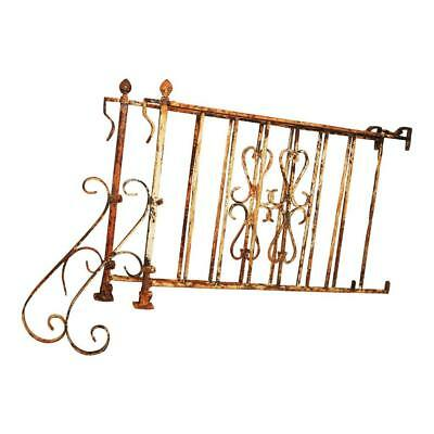 Vintage 4' IRON HAND RAIL PAIR wrought metal fence architectural salvage antique