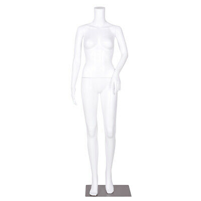 Headless Female Mannequin Plastic Realistic Display Dress Form Full w/Base White