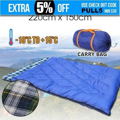 Double Outdoor Camping Sleeping Bag Blue Hiking Thermal Winter -10°C 220x150cm