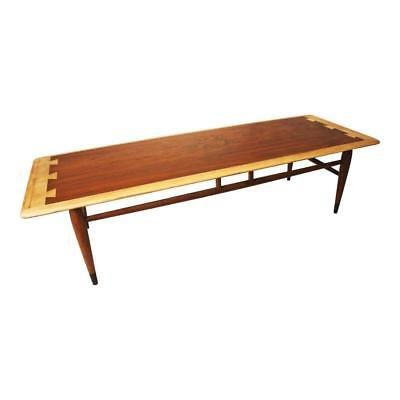 Danish Modern LANE ACCLAIM COFFEE TABLE dovetail wood mid century vintage inlaid