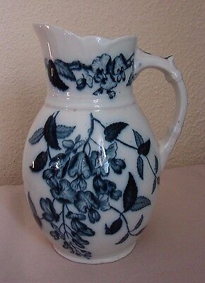 "Sweet 1800s ""Westeria"" Antique Flow Blue Milk Pitcher 7"" to Rim Wisteria Pattern"