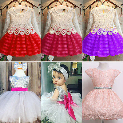 Toddler Kids Baby Girls Princess Prom Dress Xmas Party Pageant Lace Tutu Dresses