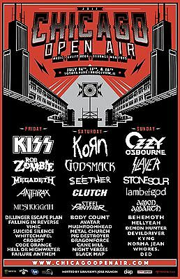 CHICAGO OPEN AIR 2017 CONCERT TOUR POSTER: Kiss, Korn, Ozzy Osbourne, Rob Zombie
