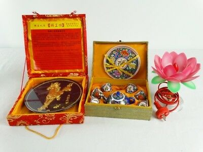 Chinese Heavily Gilt Display Plate , boxed part tea set & Lotus flower light