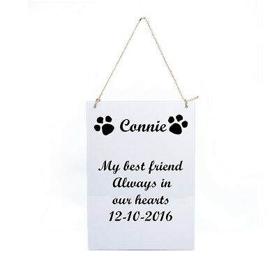 Personalised Engraved Free Pet Memorial Wooden Grave Marker Hanging Plaque Sign