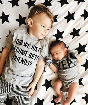 Little Brother Baby Boy Romper Bodysuit Big Boy Cotton T-shirt Matching Set UK