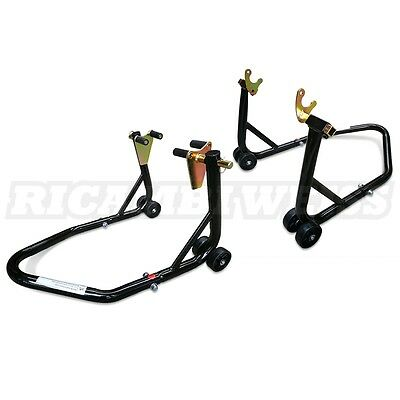 STVK Front And Rear Motorcycle / Bike Paddock Stands & Bobbin Hook Combo NEW
