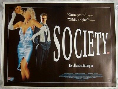 Society (1989) ROLLED ORIGINAL S/S UK QUAD POSTER, Billy Warlock, Brian Yuzna
