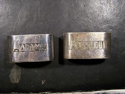 """2 Antique  Oval Silverplate Napkin Rings-""""madame & Monsieur""""-Made In France"""